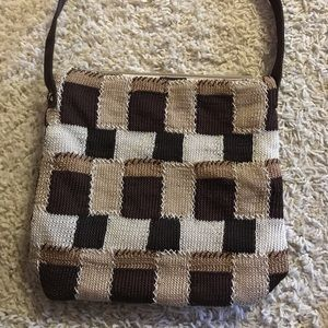 The SAK Bag Crochet Brown Patchwork Shoulder Bag